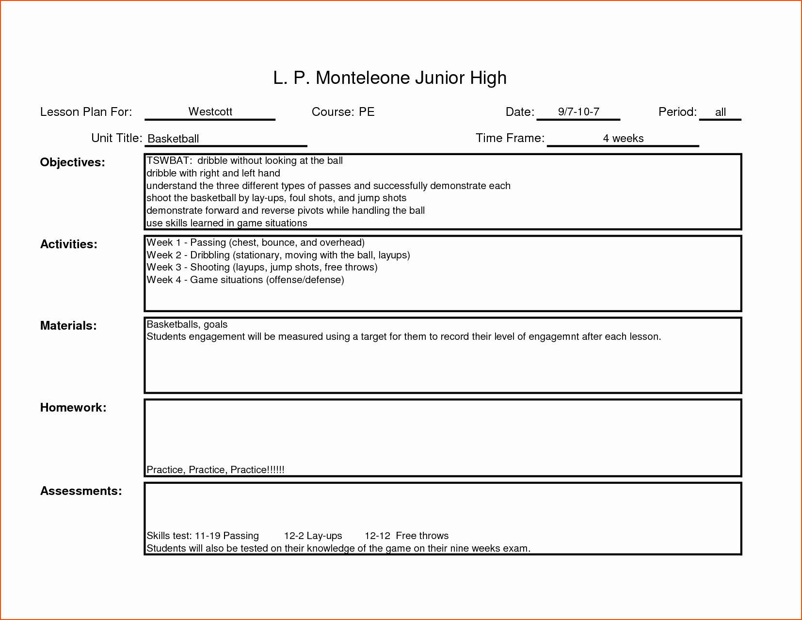 7 teacher lesson plan template