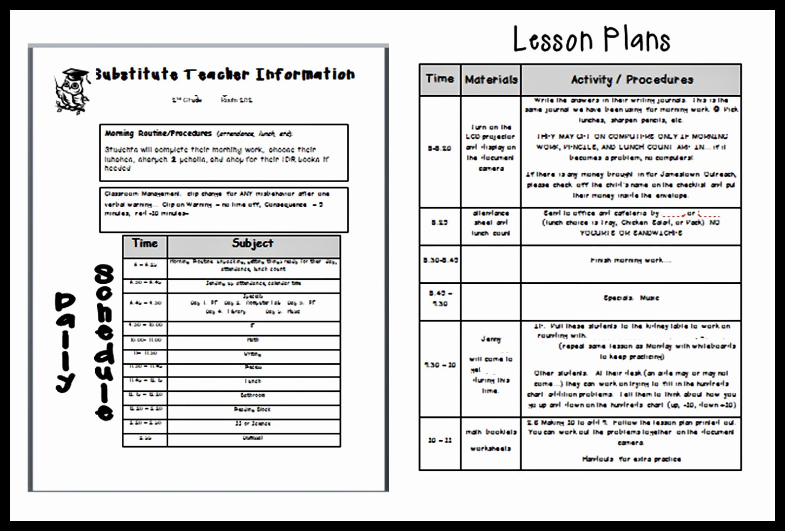 Teacher Lesson Plans Template Beautiful Lesson Plan Template for Substitute Teacher – Printable