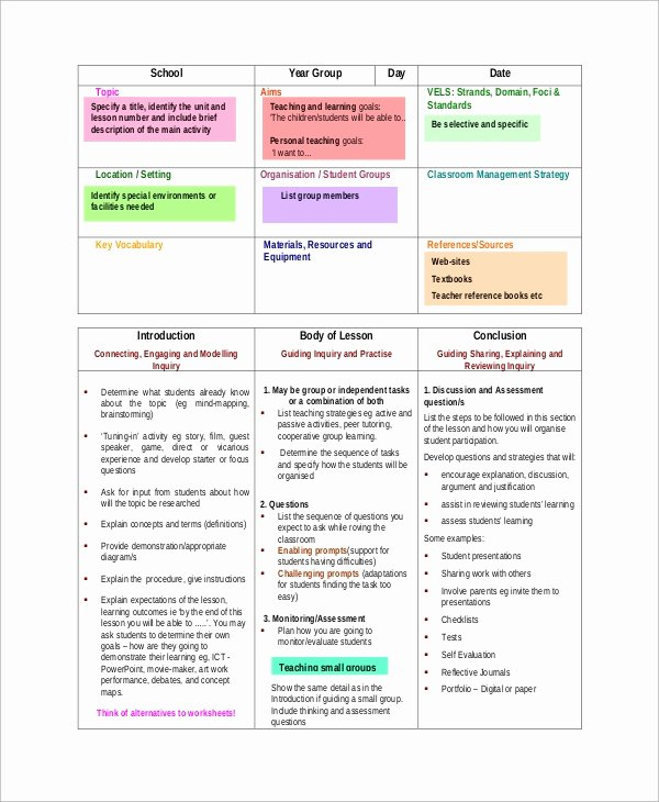 Teacher Lesson Plans Template Elegant Sample Lesson Plan format 8 Examples In Word Pdf
