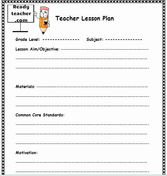 Teacher Lesson Plans Template Inspirational Lesson Plan