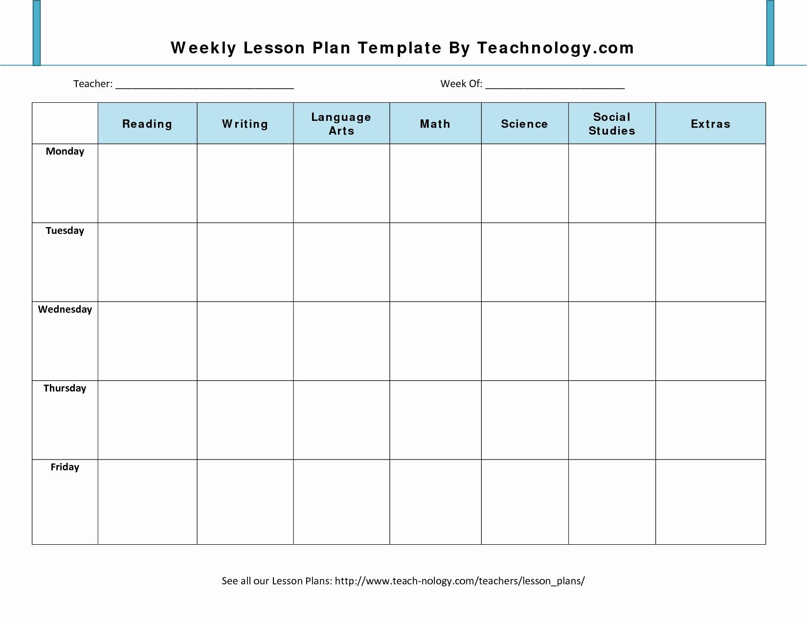 Teachers College Lesson Plan Template Fresh Lesson Plan format 7 Weekly Lesson Plan Template for