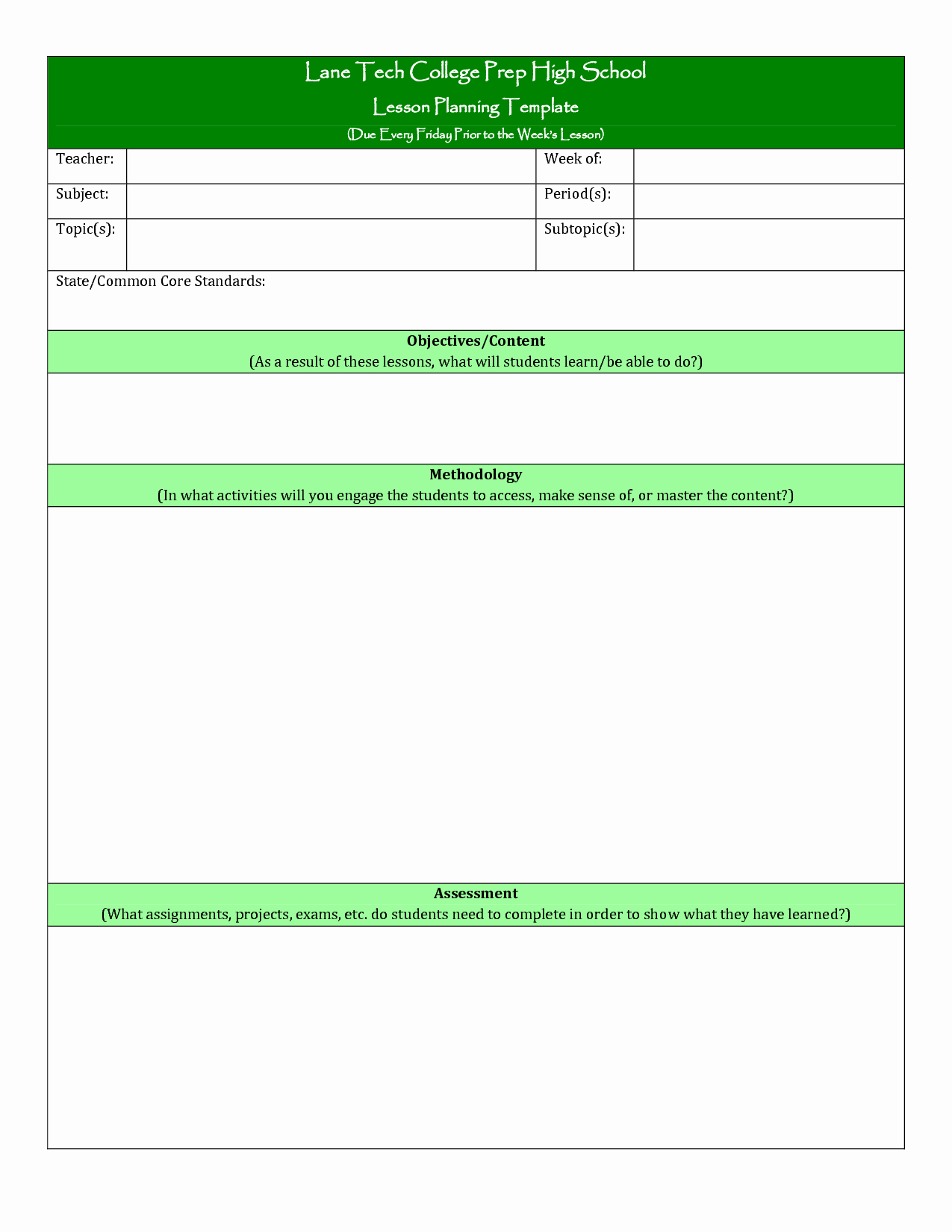 Teachers College Lesson Plan Template New College Lesson Plan Template Printable