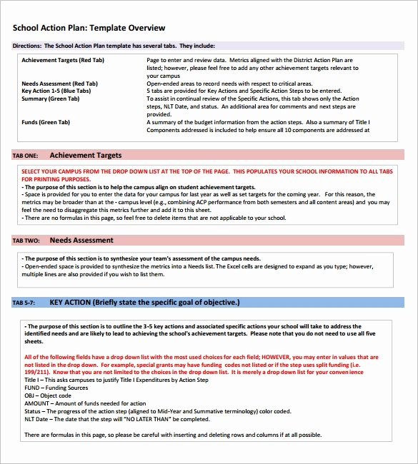 Teaching Action Plan Template Beautiful 7 School Action Plan Templates Word Excel Pdf