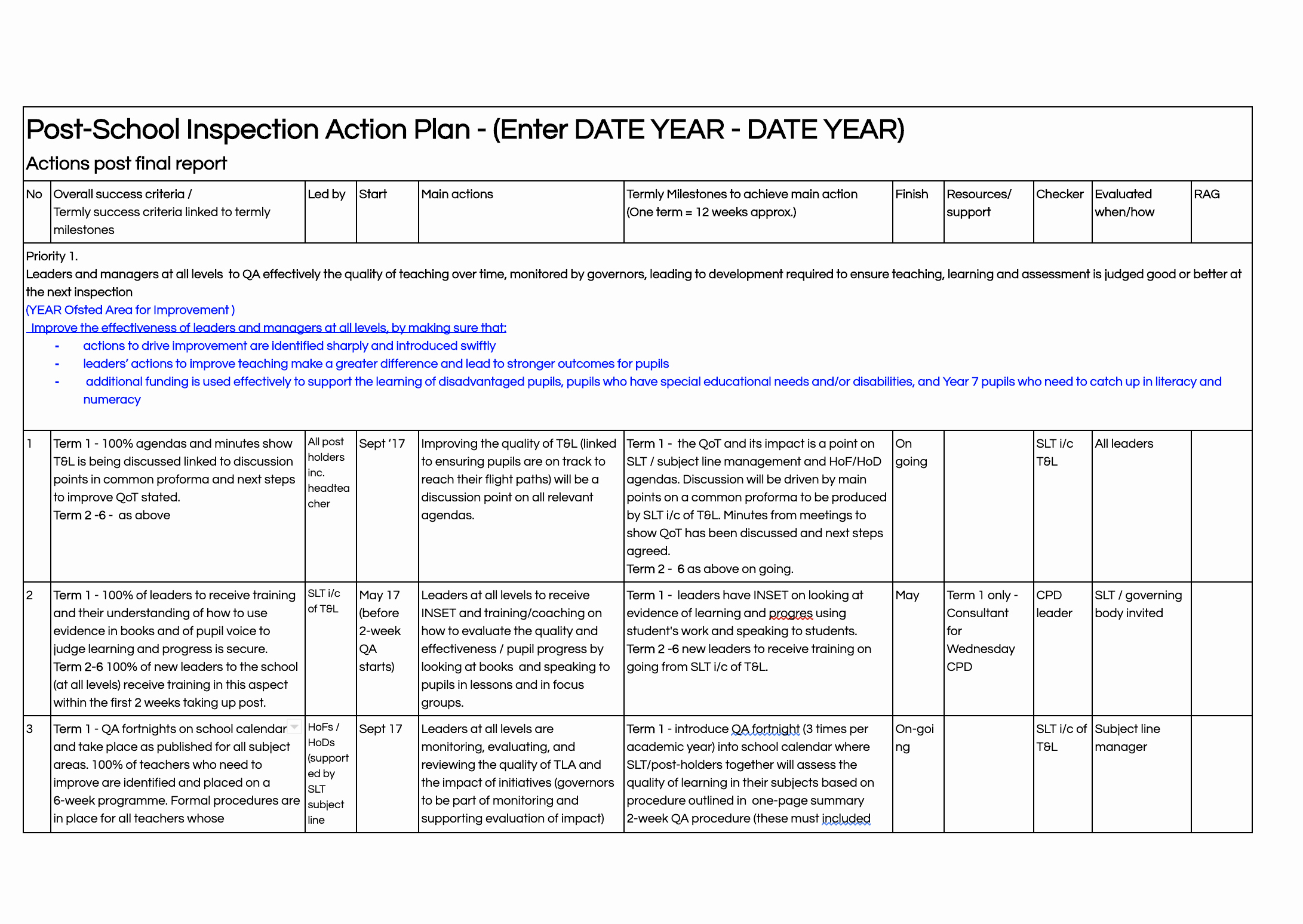 Teaching Action Plan Template Lovely School Action Plan