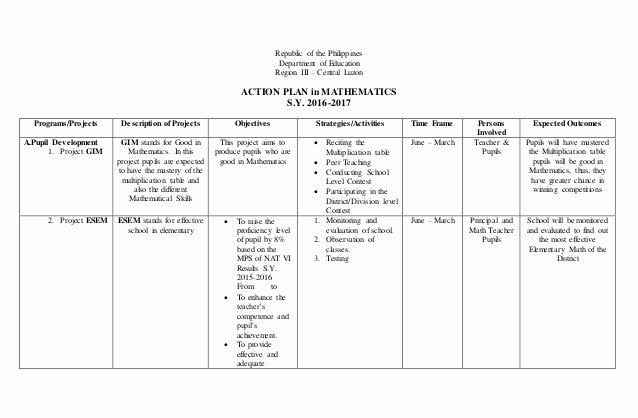 Teaching Action Plan Template Luxury Action Plan In Math