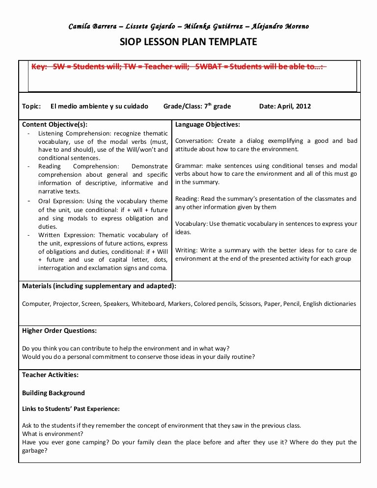 Teaching Strategies Lesson Plan Template Unique Siop Unit Lesson Plan Template Sei Model
