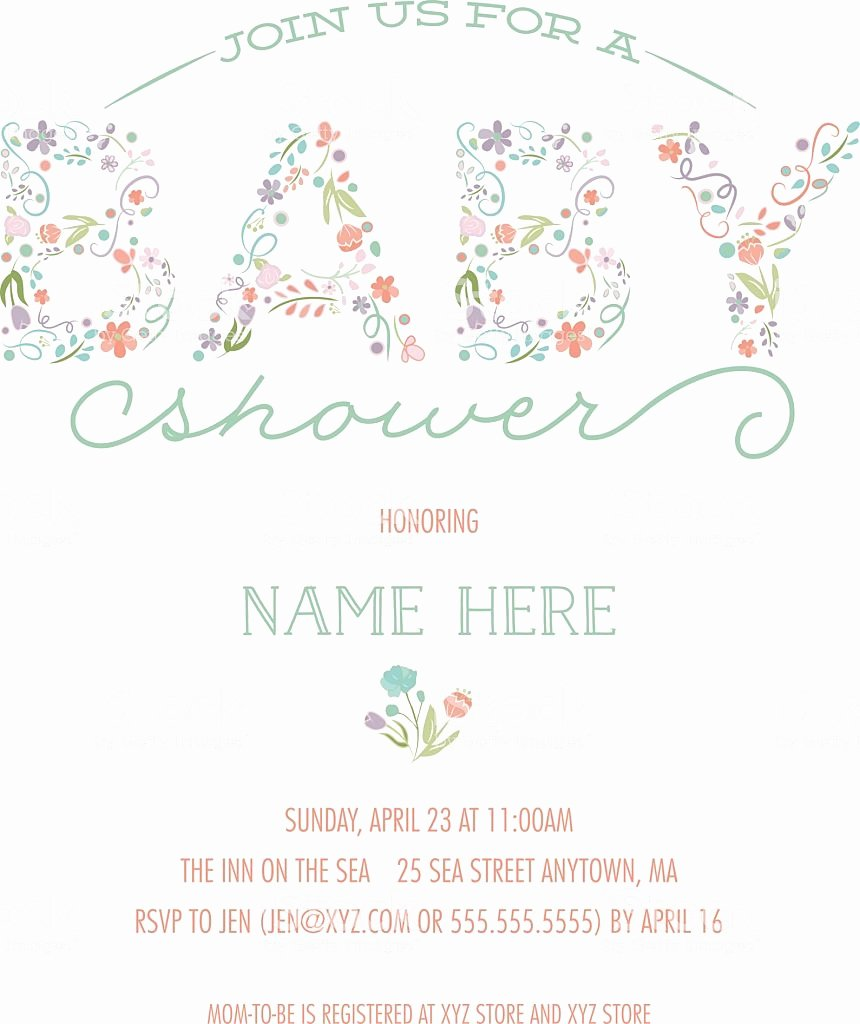 Template for Baby Shower Invitation Awesome Baby Shower Invitation Template Invite with Floral Design