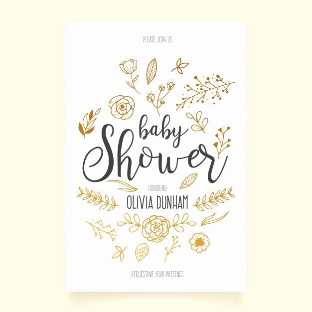 Template for Baby Shower Invitation Fresh Baby Shower Invitation Template with Hand Drawn ornaments