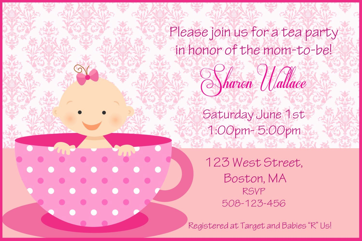 Template for Baby Shower Invitation Fresh Tea Party Baby Shower Invitations