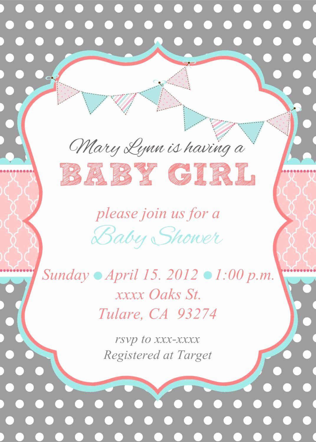 Template for Baby Shower Invitation Unique Loca Date Time Line About Diaper Raffle & Spa Prize