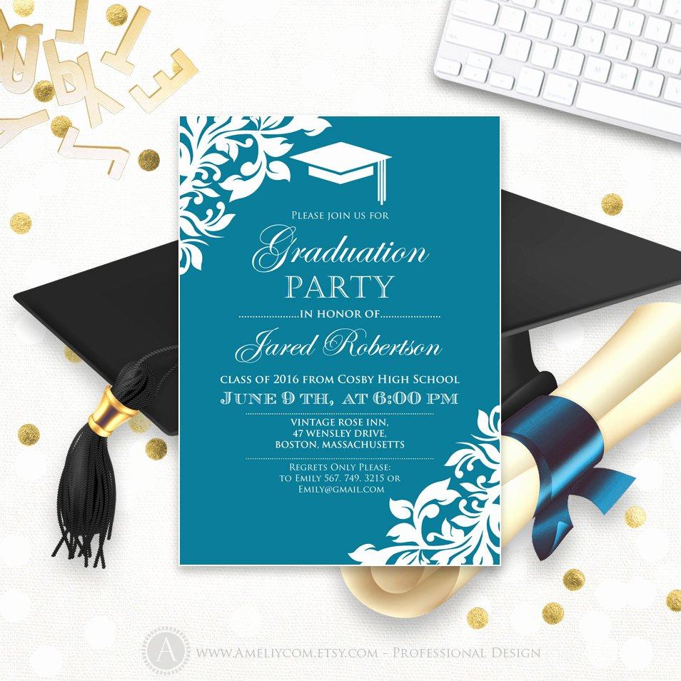 Template for Graduation Invitation Beautiful Printable Graduation Party Invitation Template Blue Teal High