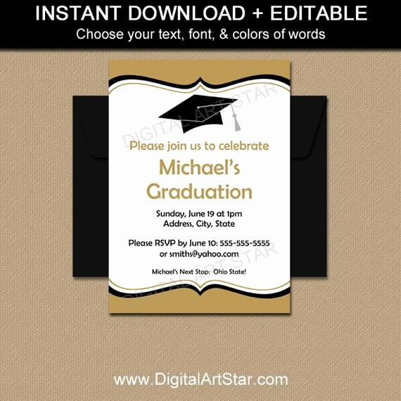 Template for Graduation Invitation Inspirational Editable Graduation Invitations Printable by Digitalartstar
