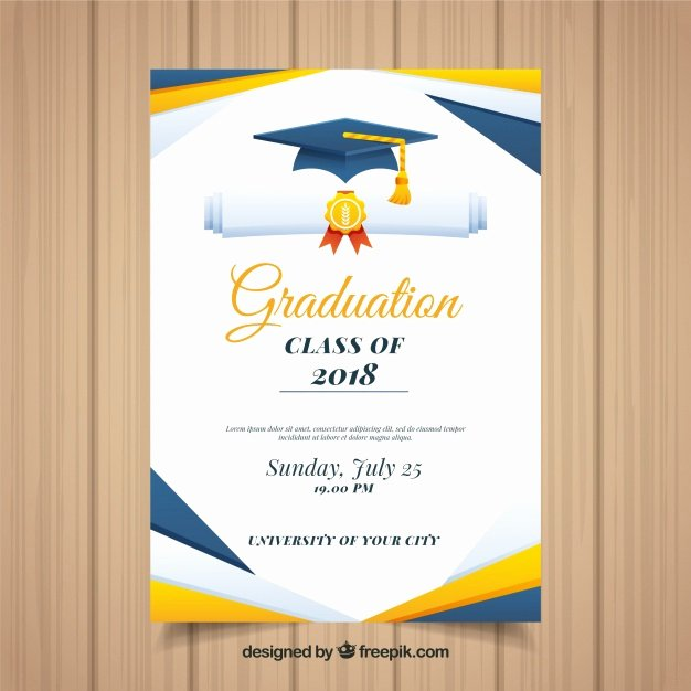 Template for Graduation Invitation Lovely Colorful Graduation Invitation Template with Flat Design