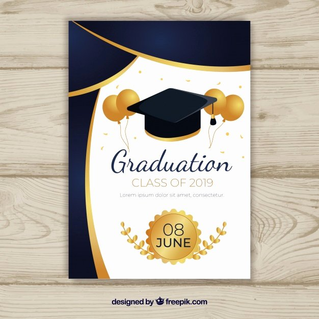 Template for Graduation Invitation Lovely Graduation Invitation Template with Flat Design Vector