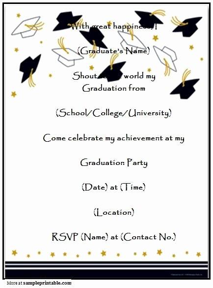 Template for Graduation Invitation Lovely Graduation Party Invitations