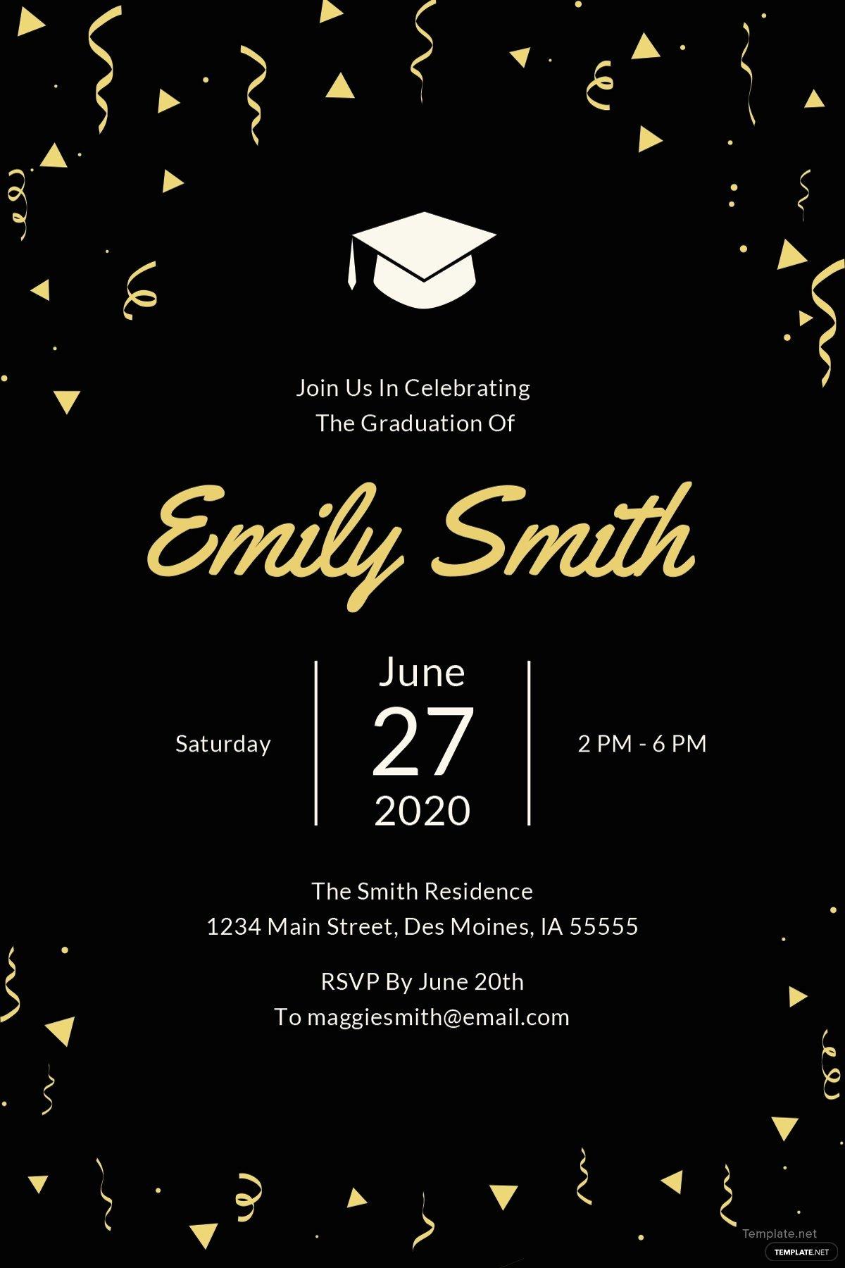 Template for Graduation Invitation New Free Graduation Invitation Template In Microsoft Word