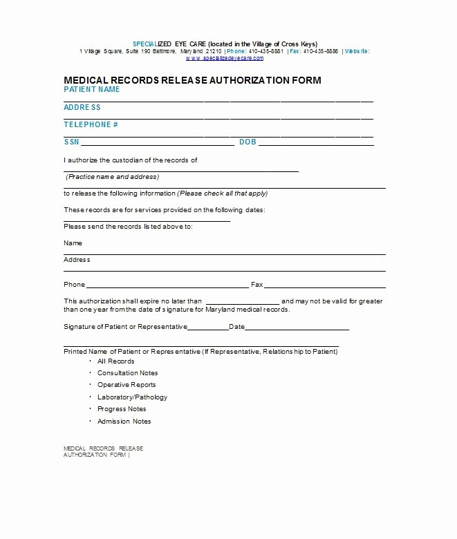 Template for Medical Release form Awesome 30 Medical Release form Templates Free Template Downloads