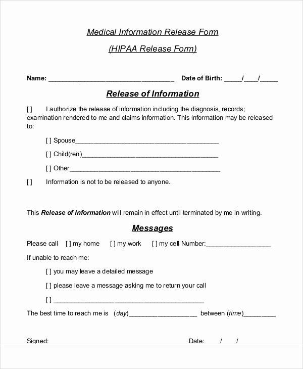 Template for Medical Release form Beautiful Sample Medical Information Release form 7 Examples In
