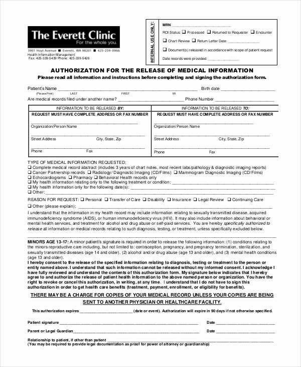 Template for Medical Release form Best Of 10 Medical Release forms Free Sample Example format