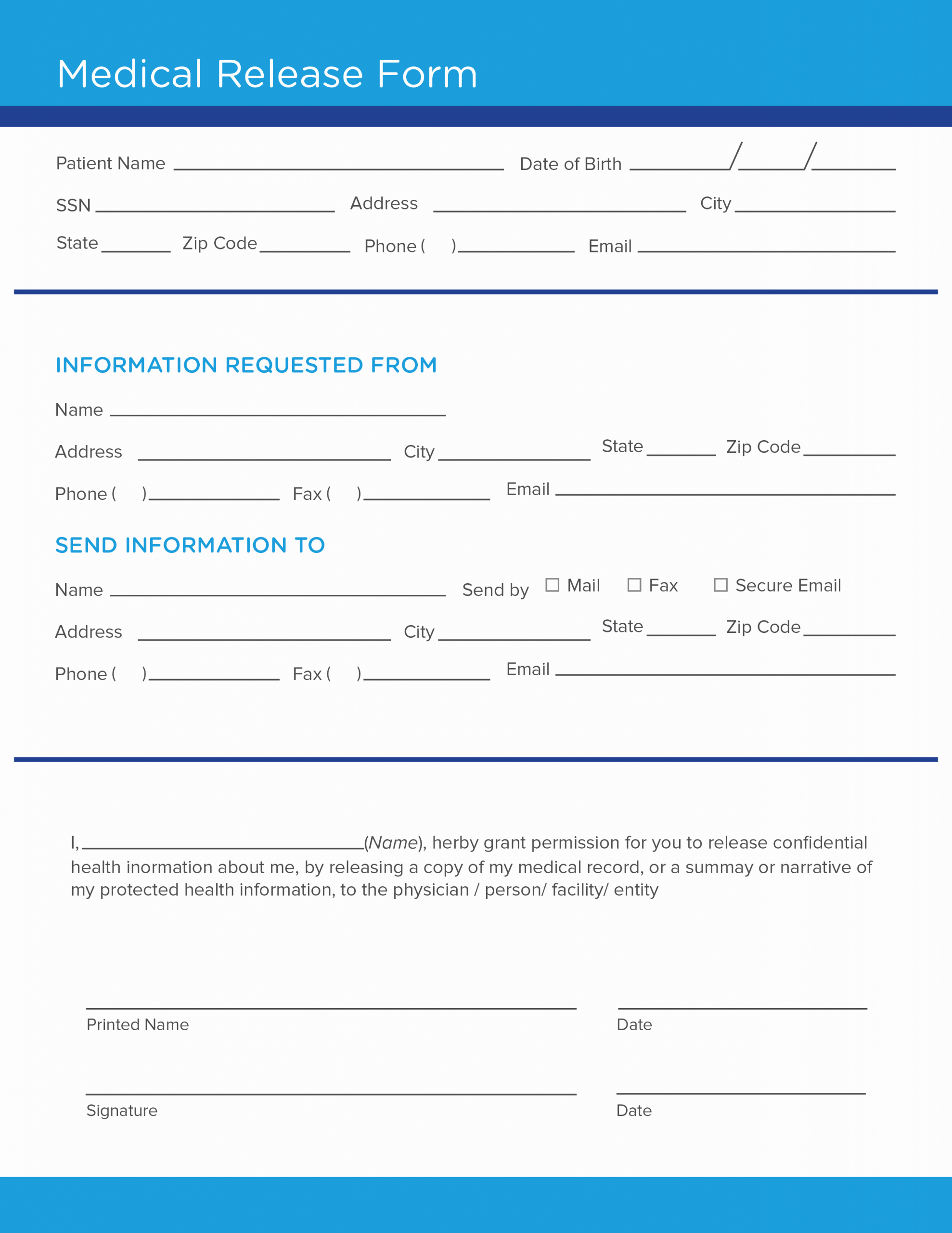 Template for Medical Release form Best Of Free Medical Release form Template