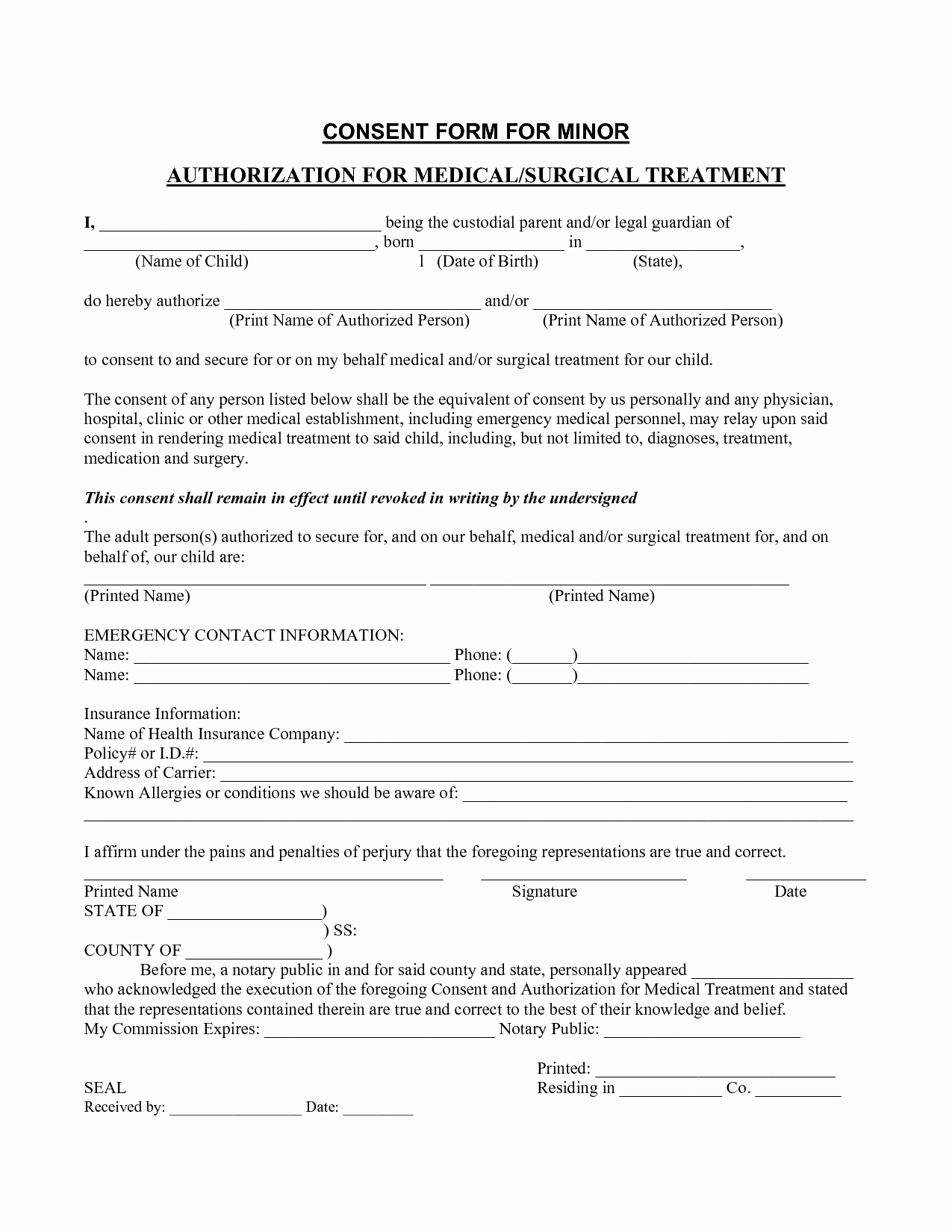 Template for Medical Release form Best Of Medical Consent form Template