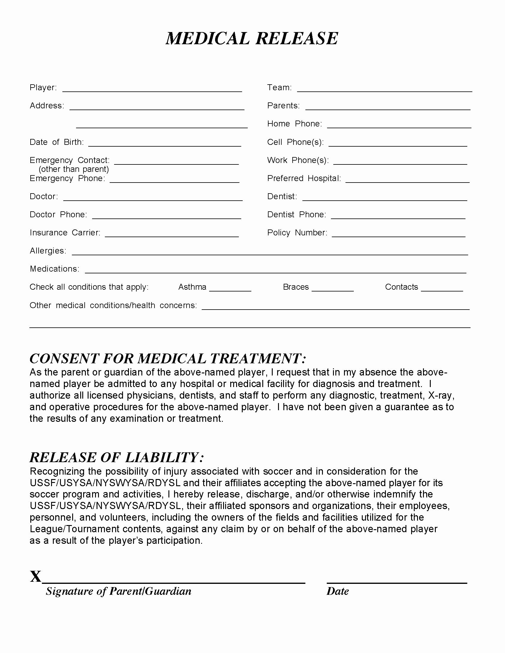 Template for Medical Release form Elegant Medical Release form – Templates Free Printable