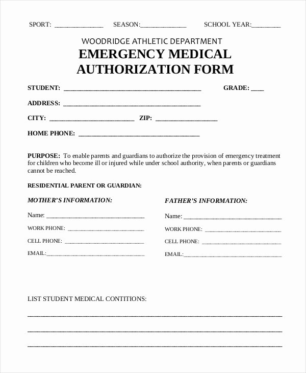Template for Medical Release form Fresh 10 Printable Medical Authorization forms Pdf Doc
