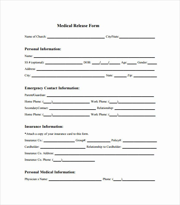 Template for Medical Release form Fresh Sample Medical Release form 10 Free Documents In Pdf Word