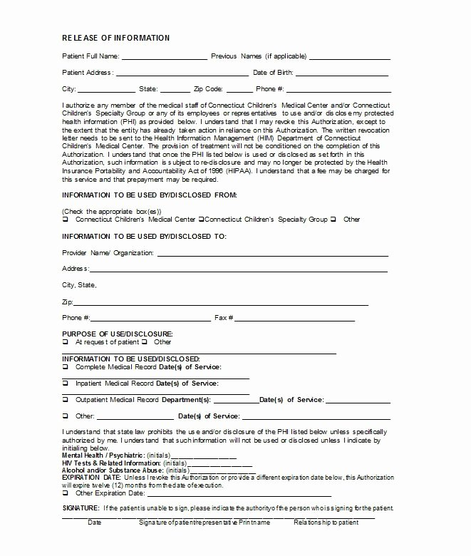 Template for Medical Release form Lovely 30 Medical Release form Templates Free Template Downloads