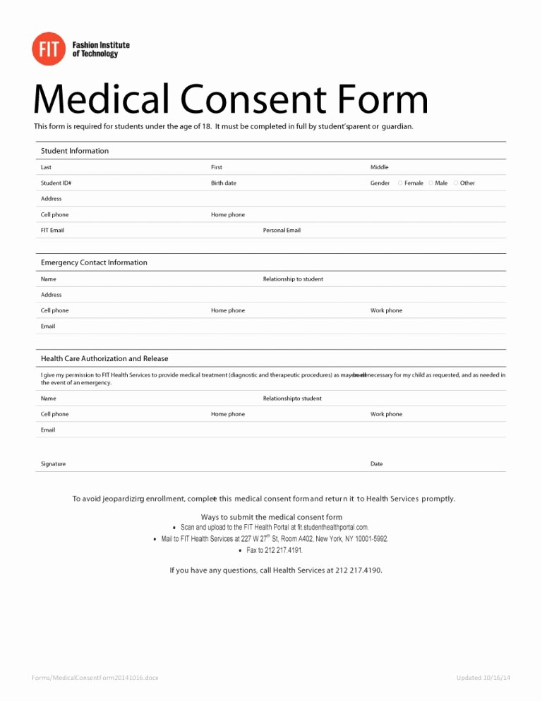 Template for Medical Release form Lovely 45 Medical Consent forms Free Printable Templates