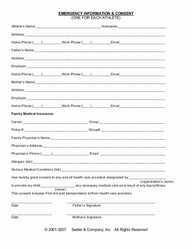 Template for Medical Release form Lovely Emergency Information Medical Consent form