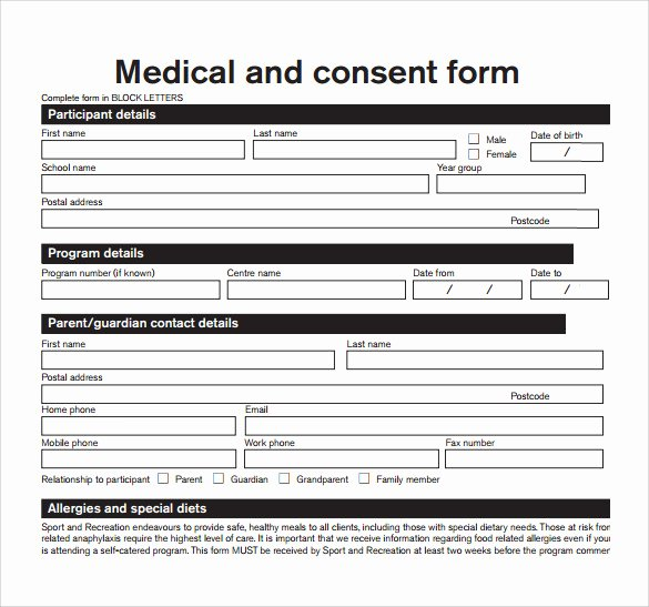 Template for Medical Release form Lovely Sample Medical Consent form Example 8 Download Free