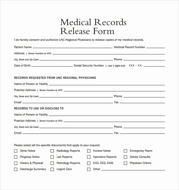 Template for Medical Release form Lovely Sample Medical Records Release form 9 Download Free