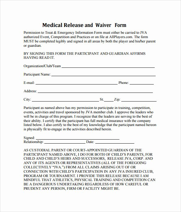 Template for Medical Release form Luxury Sample Medical Waiver form 9 Download Free Documents In
