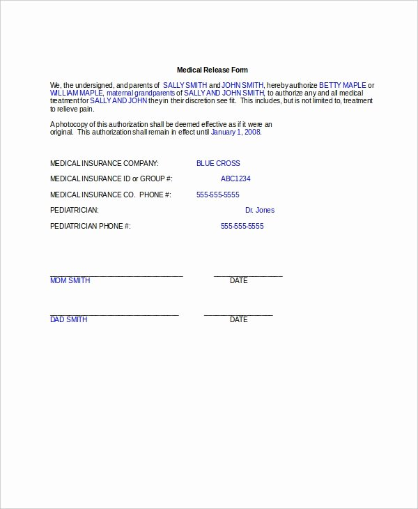 Template for Medical Release form Unique 10 Medical Release forms Free Sample Example format