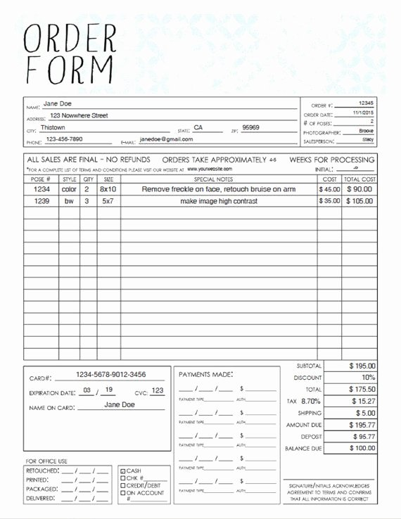 Template for order form Elegant Our General Photography order form is Great when Printed