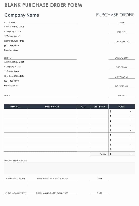 Template for order form Inspirational Free Purchase order Templates