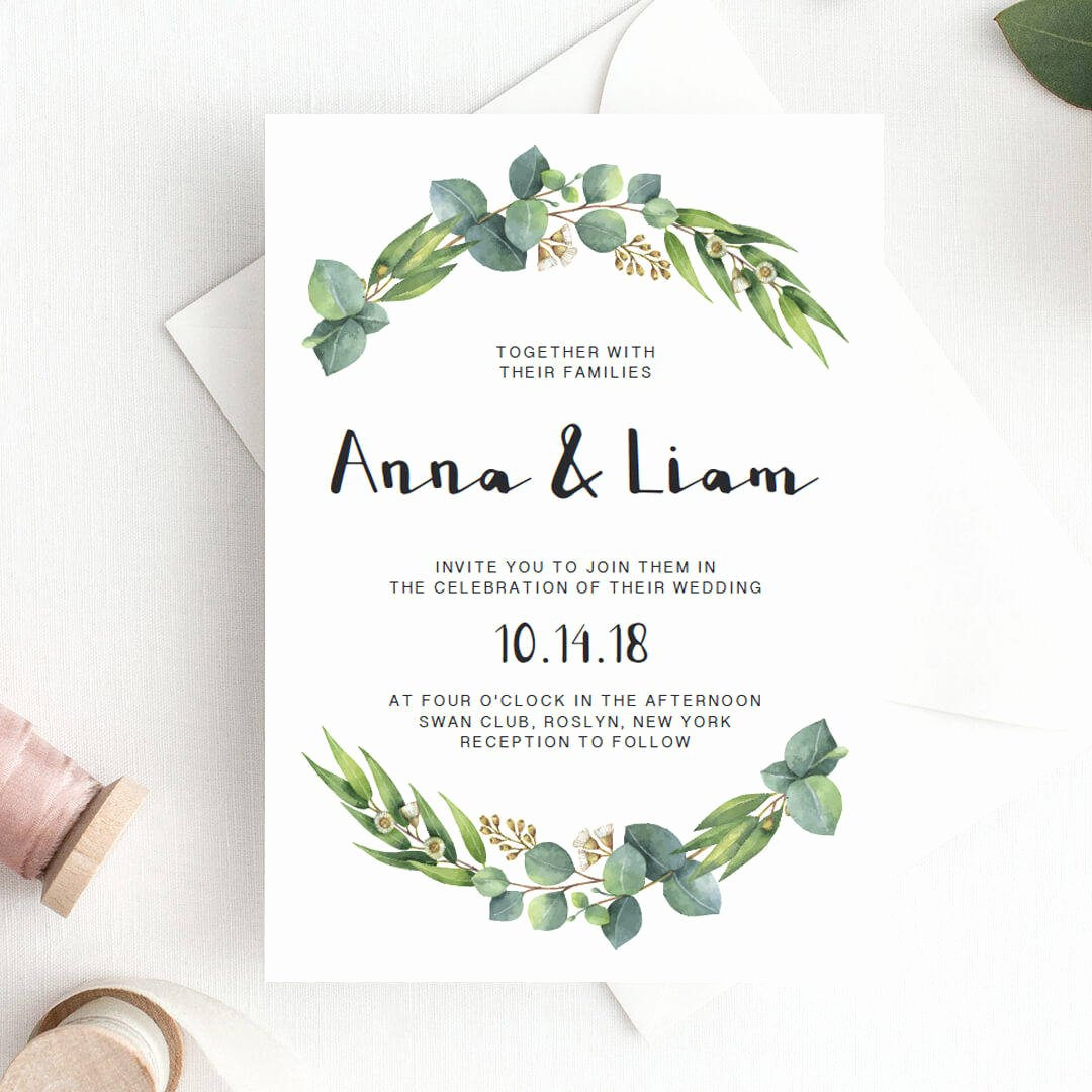 Template for Wedding Invitations Lovely Green Wedding Invitation Template Download Green Leaf Wedding