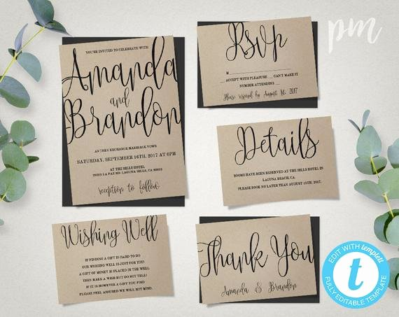 Template for Wedding Invitations Lovely Wedding Invitation Template Suite Calligraphy Script