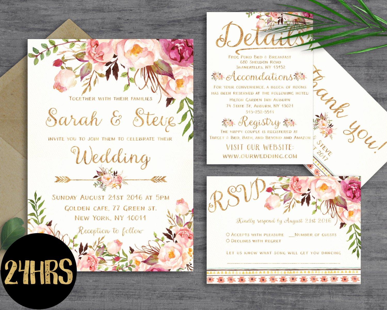 Template for Wedding Invitations Unique Floral Wedding Invitation Template Wedding Invitation