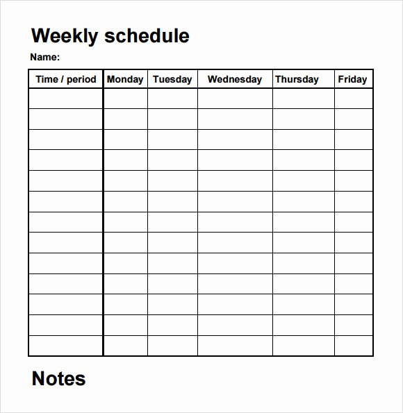 Template for Weekly Schedule Awesome Free 4 Sample Blank Schedule Templates In Pdf