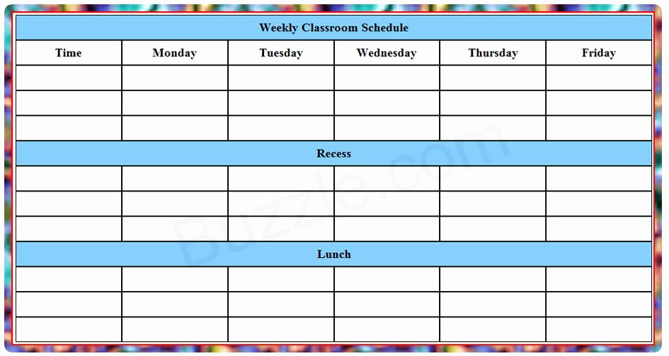 Template for Weekly Schedule Awesome Printable Weekly Class Schedule Template