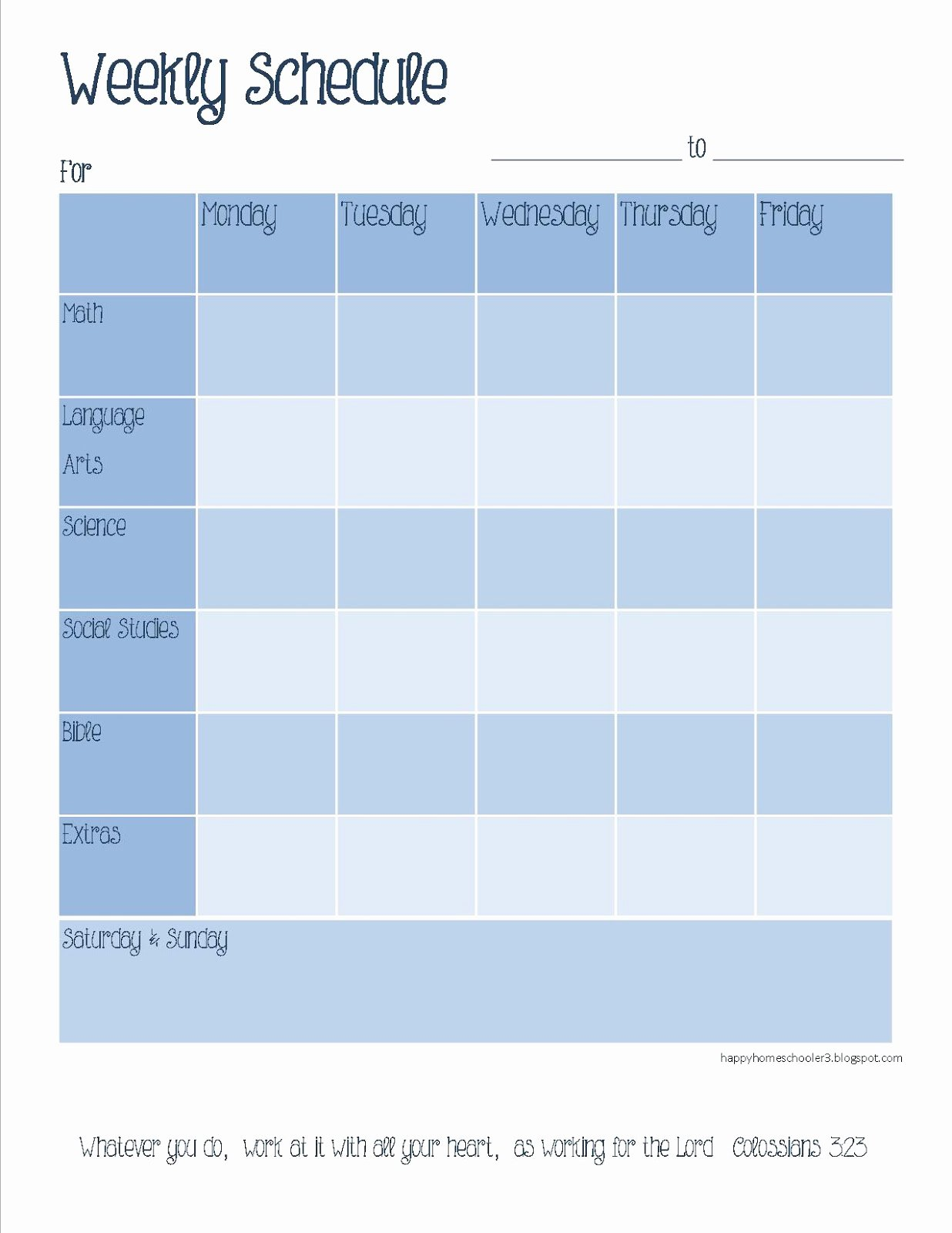 Template for Weekly Schedule Awesome the Happy Homeschooler Our Homeschool Planner A Free
