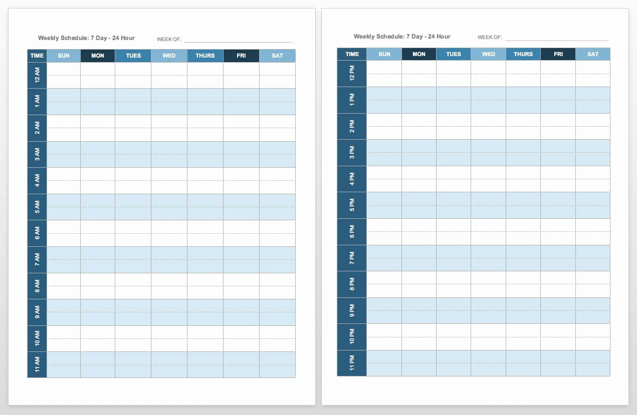 Template for Weekly Schedule Elegant Free Blank Calendar Templates Smartsheet