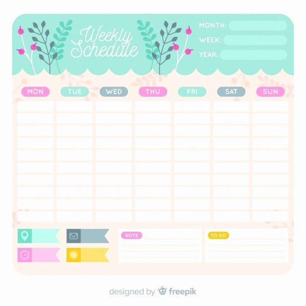 Template for Weekly Schedule Elegant Lovely Weekly Schedule Template with Floral Style Vector