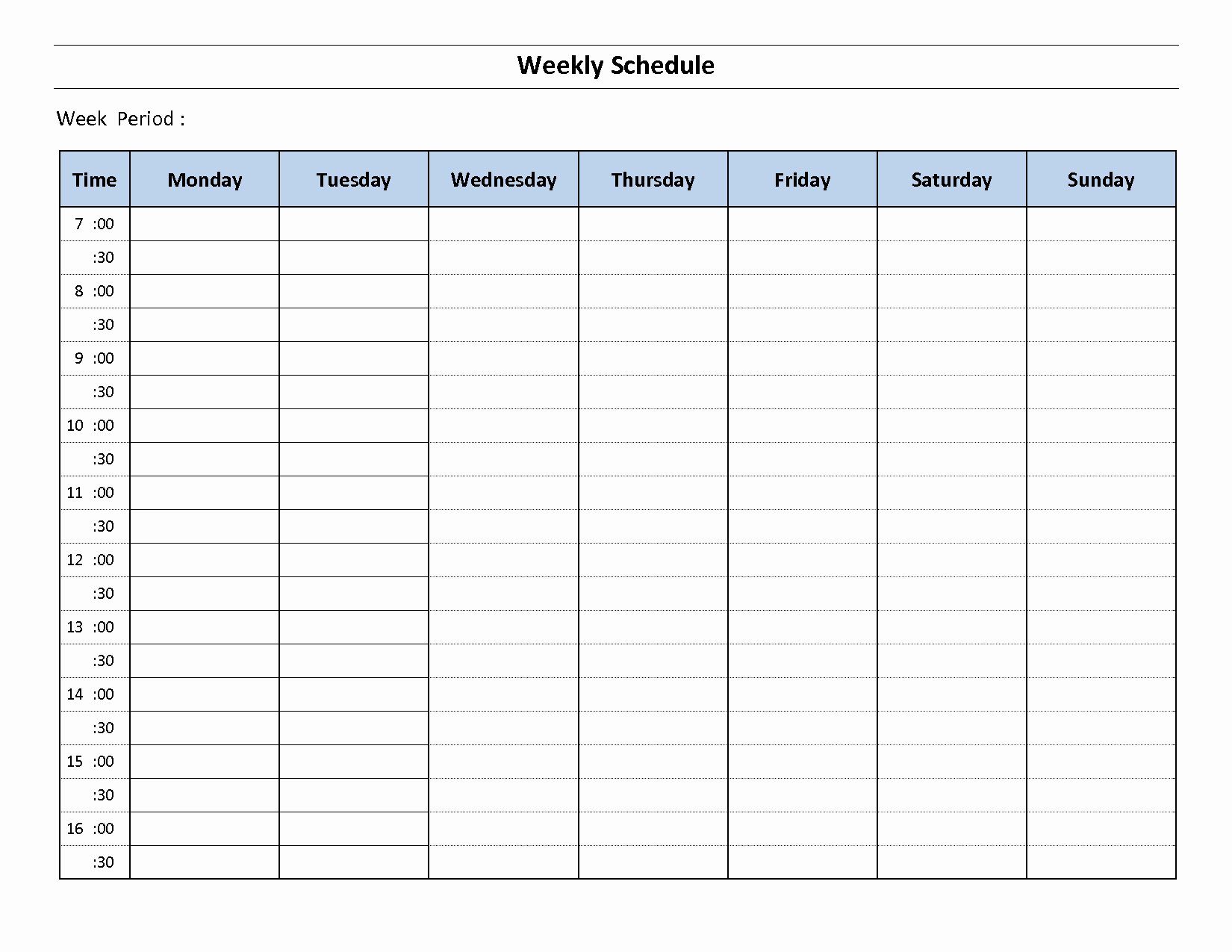 Template for Weekly Schedule Inspirational Weekly Schedule Template