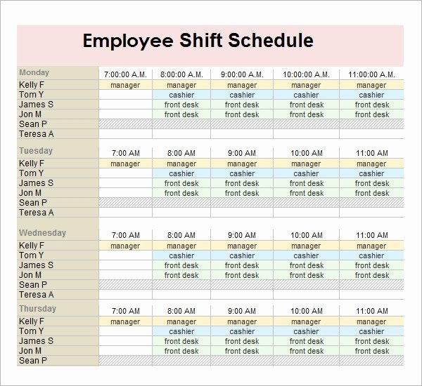 Template for Work Schedule Awesome Free18 Employee Schedule Samples In Google Docs