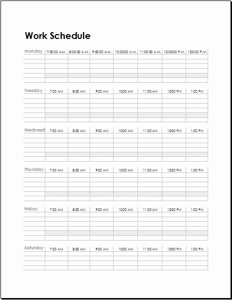 Template for Work Schedule Awesome Work Schedule Templates for Employees