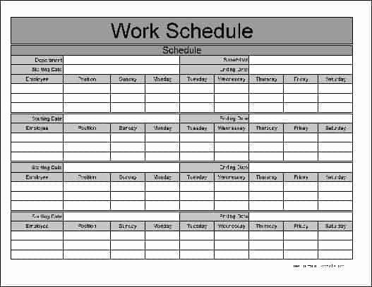 Template for Work Schedule Awesome Work Schedule Templates