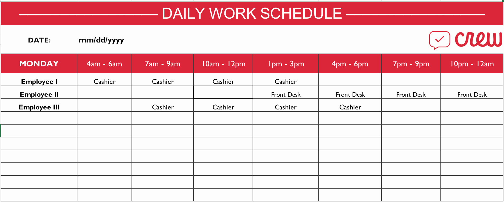 Template for Work Schedule Best Of Free Daily Work Schedule Template Crew